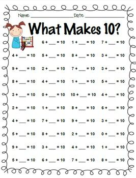 Addition Facts Practice: +0 through +10 and What Makes 10? in 2018 ...