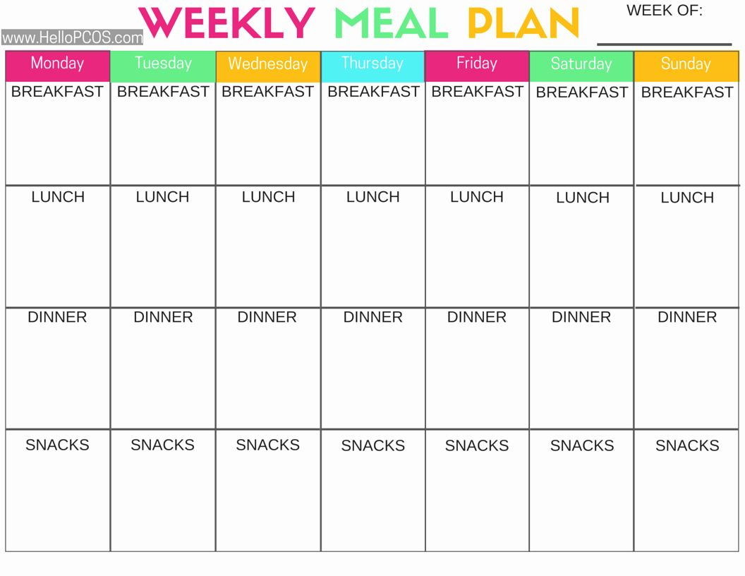 Two Week Meal Planner Template Best Of Diet Plan Pcos Diet Plan Pcos Diet Meal Planner Template Meal Planning Printable Weekly Weight loss meal planner template