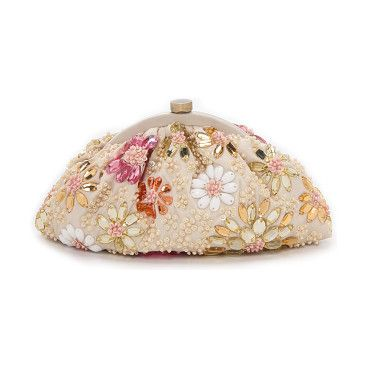 Bright crystals and beads form a floral motif on this Santi clutch.