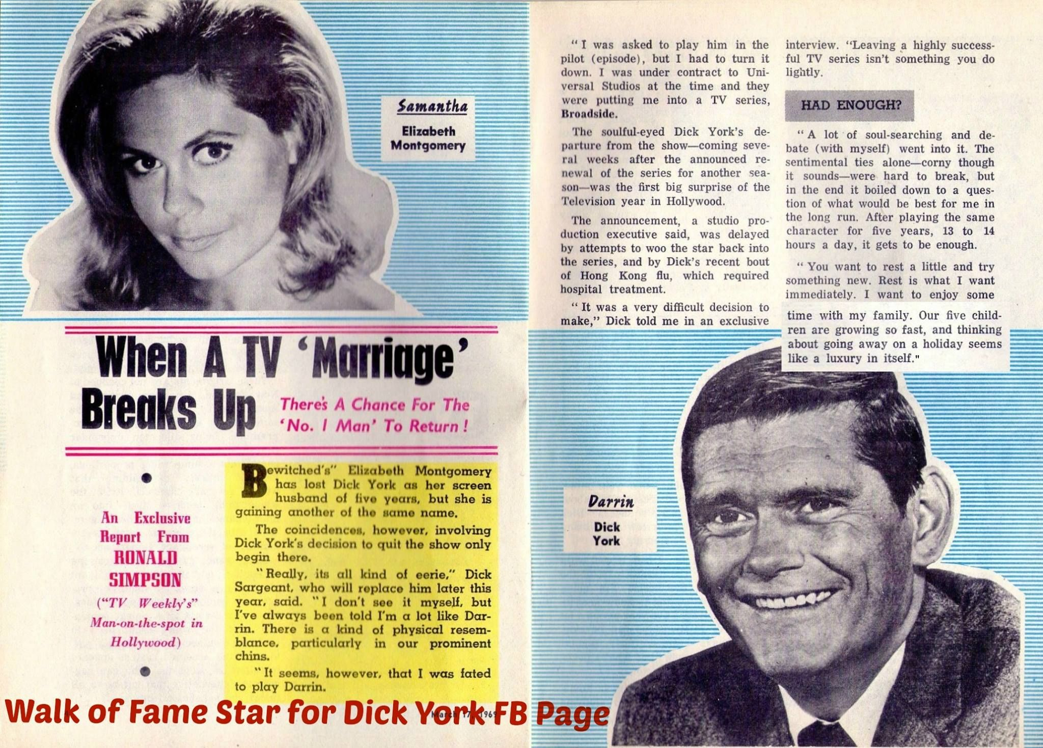 Interview with Dick York about his decision to leave