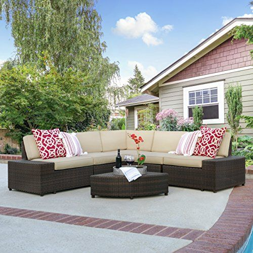 Best Choice Products Patio Furniture 6-Piece Wicker Sectional Sofa Set W/ Corner Coffee Table- Brown - http://rfernandez.otldemo.com/wp_timeless/best-choice-products-patio-furniture-6-piece-wicker-sectional-sofa-set-w-corner-coffee-table-brown/
