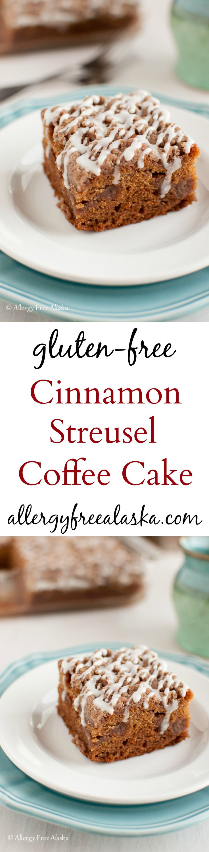 This is so, SO good! Cinnamon Streusel Coffee Cake {gluten-free, dairy-free} Recipe from Allergy Free Alaska