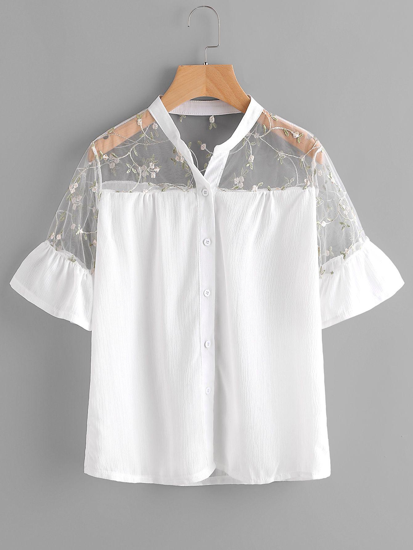 Shop embroidery mesh yoke frill cuff shirt online shein offers