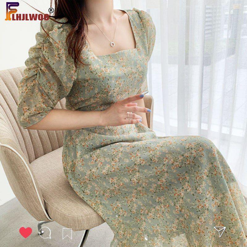 Koreanische Chic Kleid Elegante Buro Dame Temperament Neue 2020 Blumenmuster Platz Kragen Eine Linie Retro Vintage In 2021 Elegante Kleider Vintage Kleider Buro Damen