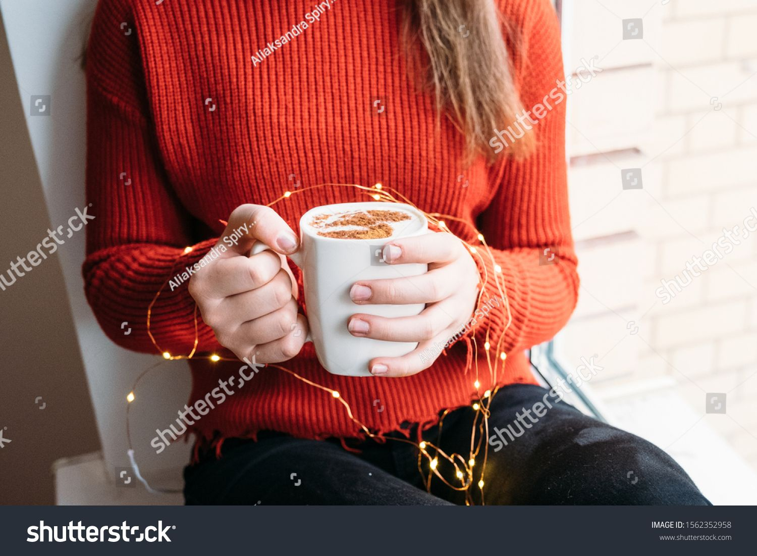Christmas Decor A Girl In A Red Sweater Drinks Coffee Capuccino With Cinamon Garland Lights Holiday Mood White Red Sweaters Sweaters Christmas Decorations Hd wallpaper red mug garland light