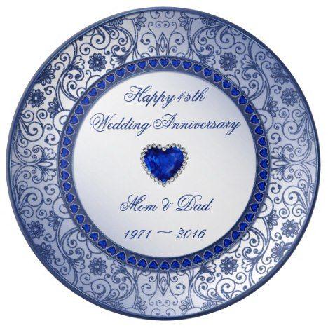 Sapphire 45th Wedding Anniversary Porcelain Plate Zazzle Com 45th Wedding Anniversary 45th Wedding Anniversary Gifts Wedding Anniversary