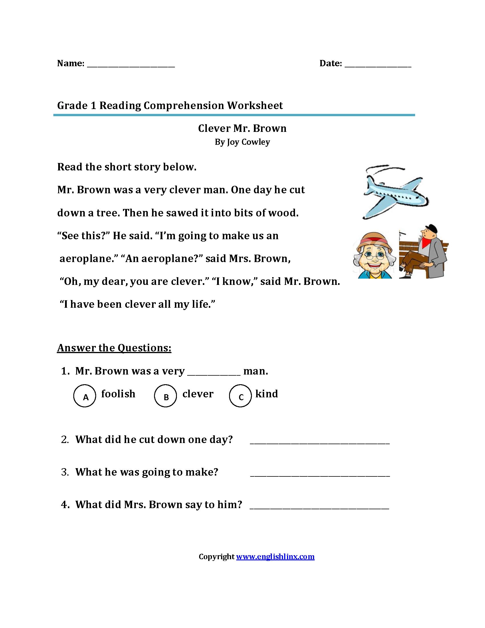 Clever Mr Brown Lt Br Gt First Grade Reading Worksheets