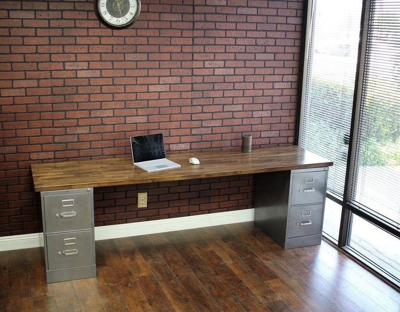 4 drawer rustic desk metal filing industrial