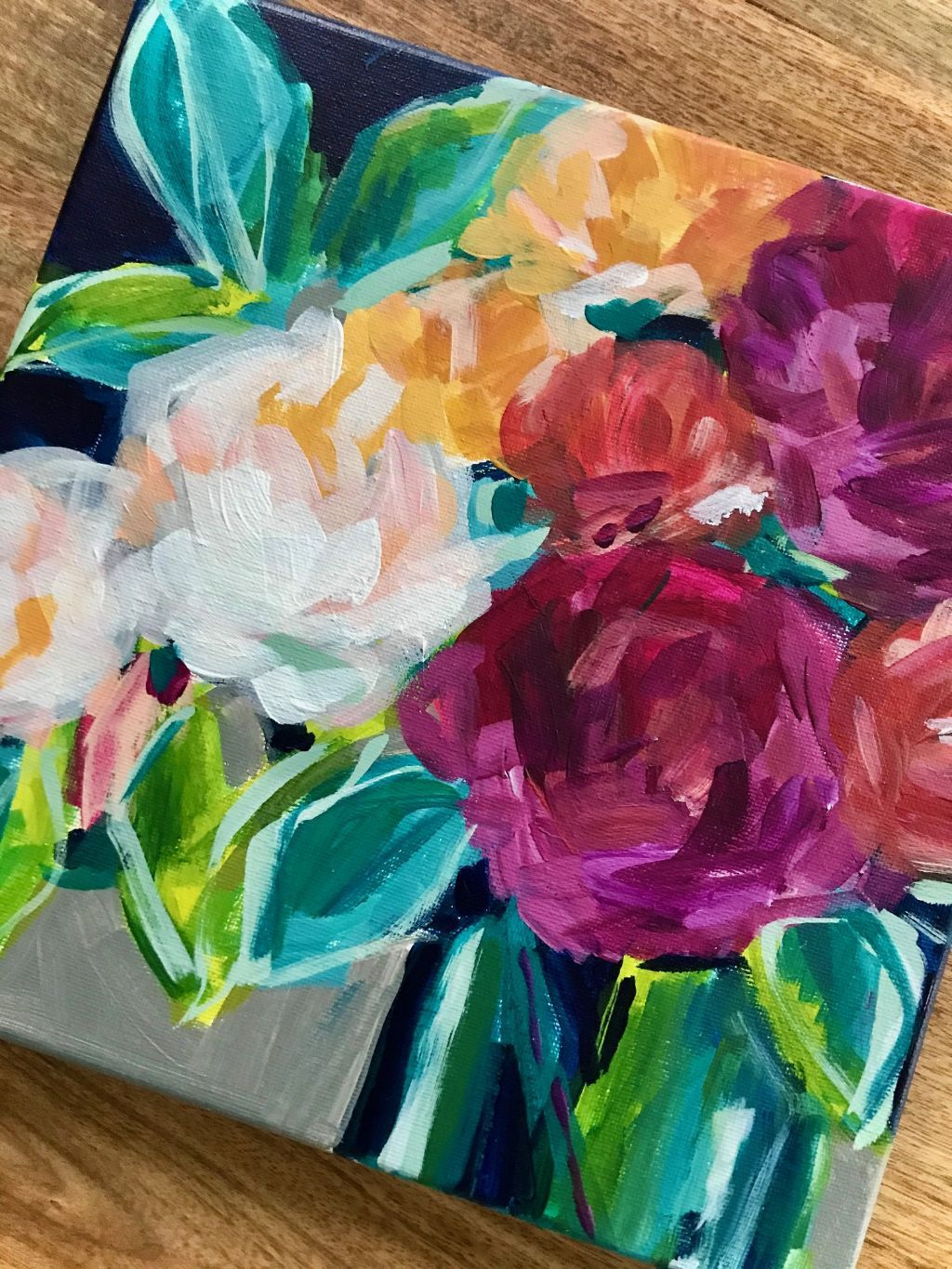 Easy Flower Painting Ideas For Beginners Step By Step Acrylic Painting Tutorials Elle Byers Art In 2020 Flower Painting Canvas Flower Art Painting Extra Large Canvas Art