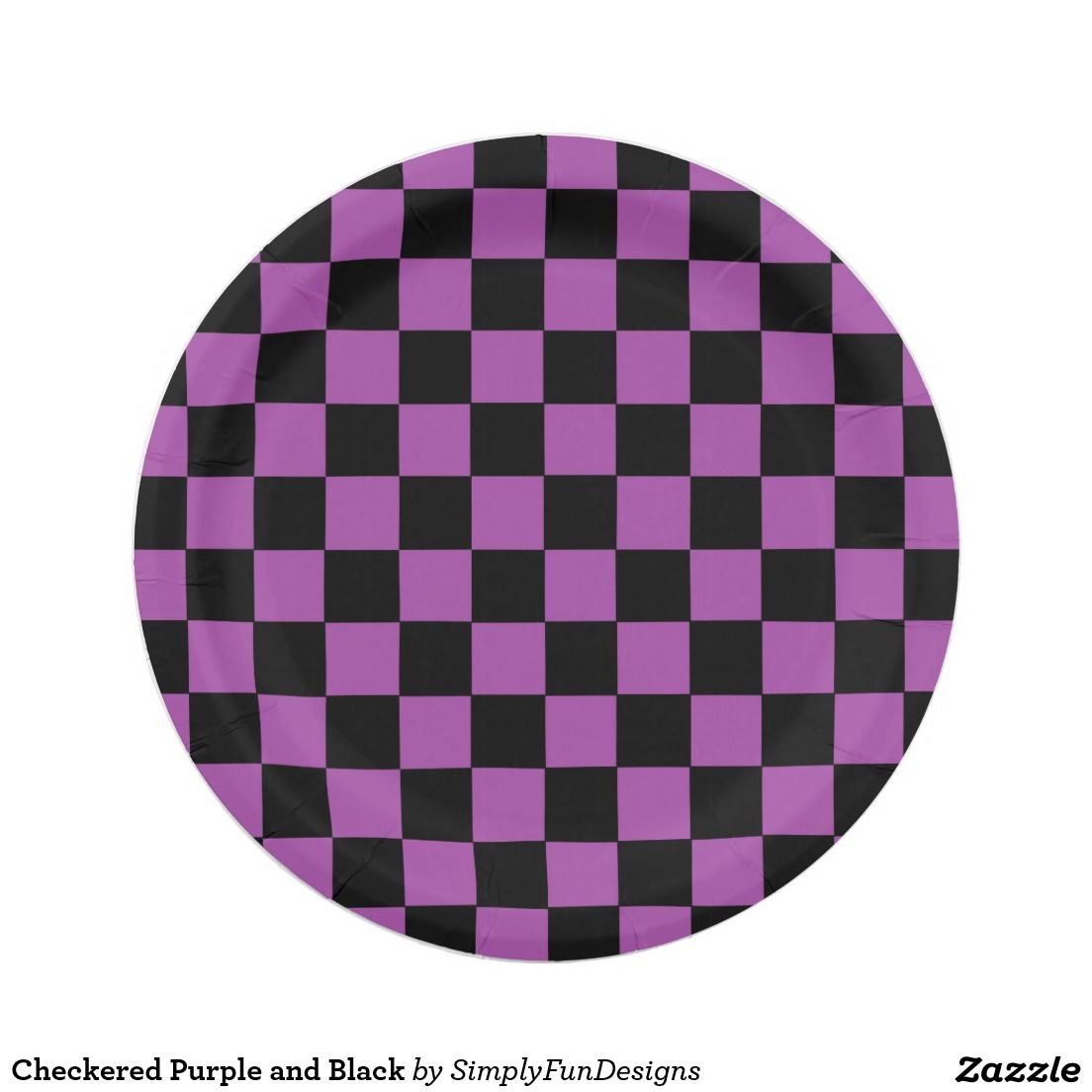 Checkered Purple and Black 7 Inch Paper Plate  sc 1 st  Pinterest & Checkered Purple and Black 7 Inch Paper Plate | Zazzle Party ...
