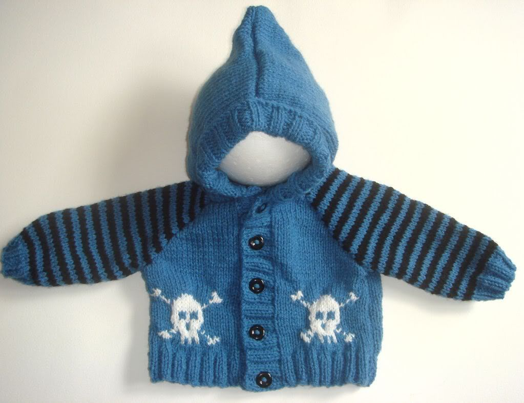 Baby Goth / Emo Hand Knitted Hooded Jacket with Skull & Crossbones