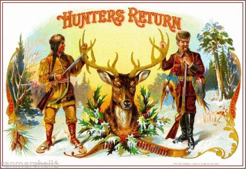 1899-Hunters-Return-Stag-Deer-Smoke-Vintage-Cigar-Tobacco-Box-Crate-Label-Print