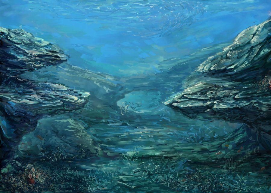 Underwater Sea Landscape By Konsuello Deviantart Com On Deviantart Underwater Painting Scenic Art Underwater