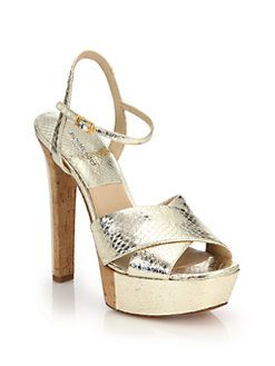 bc03b794e47 Michael Kors Collection - Addy Metallic Snakeskin   Cork Platform Sandals