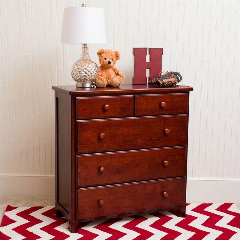 Maxwood Furniture Jackpot 5 Drawer Dresser In Dark Cherry