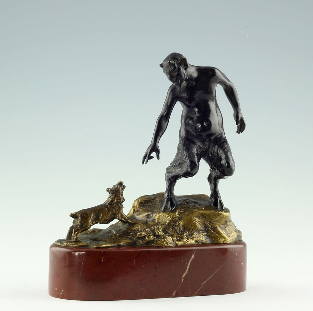 Heinz Müller bronze Satyr & Hund 1900 Dusseldorfer Schule Figur Skulptur Pan
