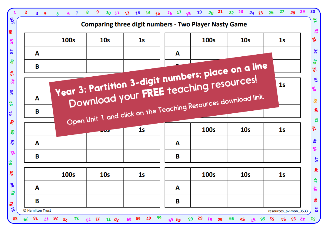Place 3 Digit Numbers On A Line Partition Into 1s 10s