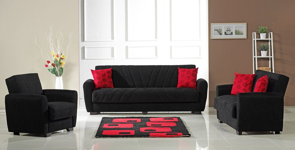 FurniPlanet.com   Buy Black/Red Perfect Contemporary Living Room Fabric  Sofa Set Orlando