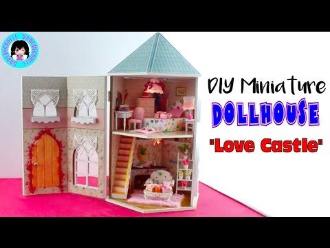 """Love Castle"" DIY Miniature Dollhouse with Working Lights DarlingDolls Miniature - YouTube"