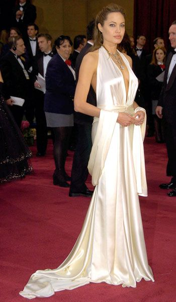 Angelina Jolie In Marc Bouwer February 2004 Oscars The Best Oscar Dresses Ever Red Carpet