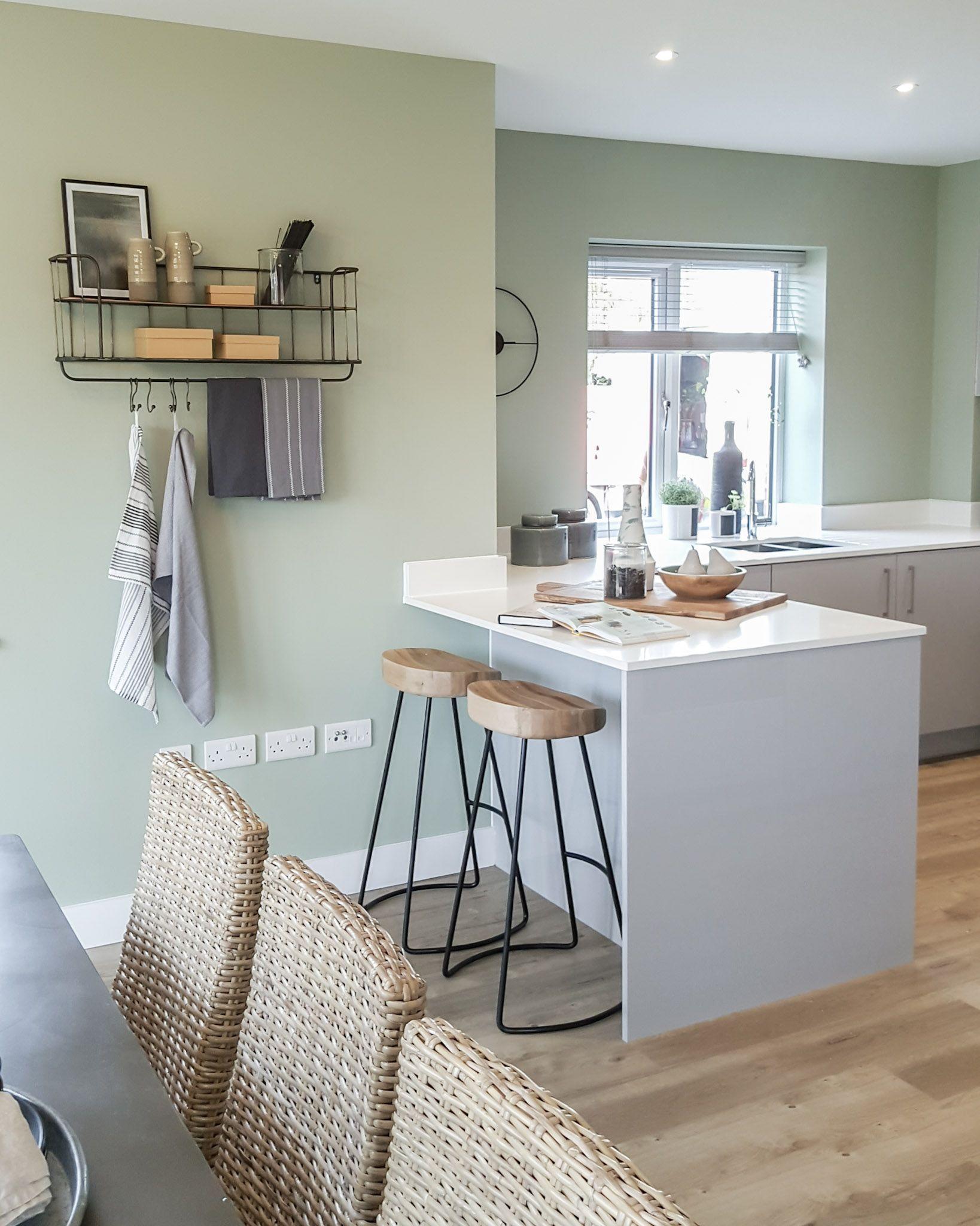 New Build Kitchen Diner With Breakfast Nook Green Dining Room Walls Green Dining Room Sage Living Room