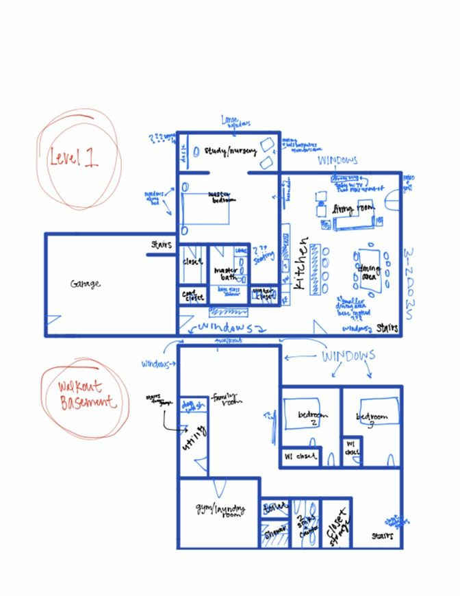 Very Rough Sketch Of A Possible Rambler Layout Basement Bedrooms Floor Plans Layout