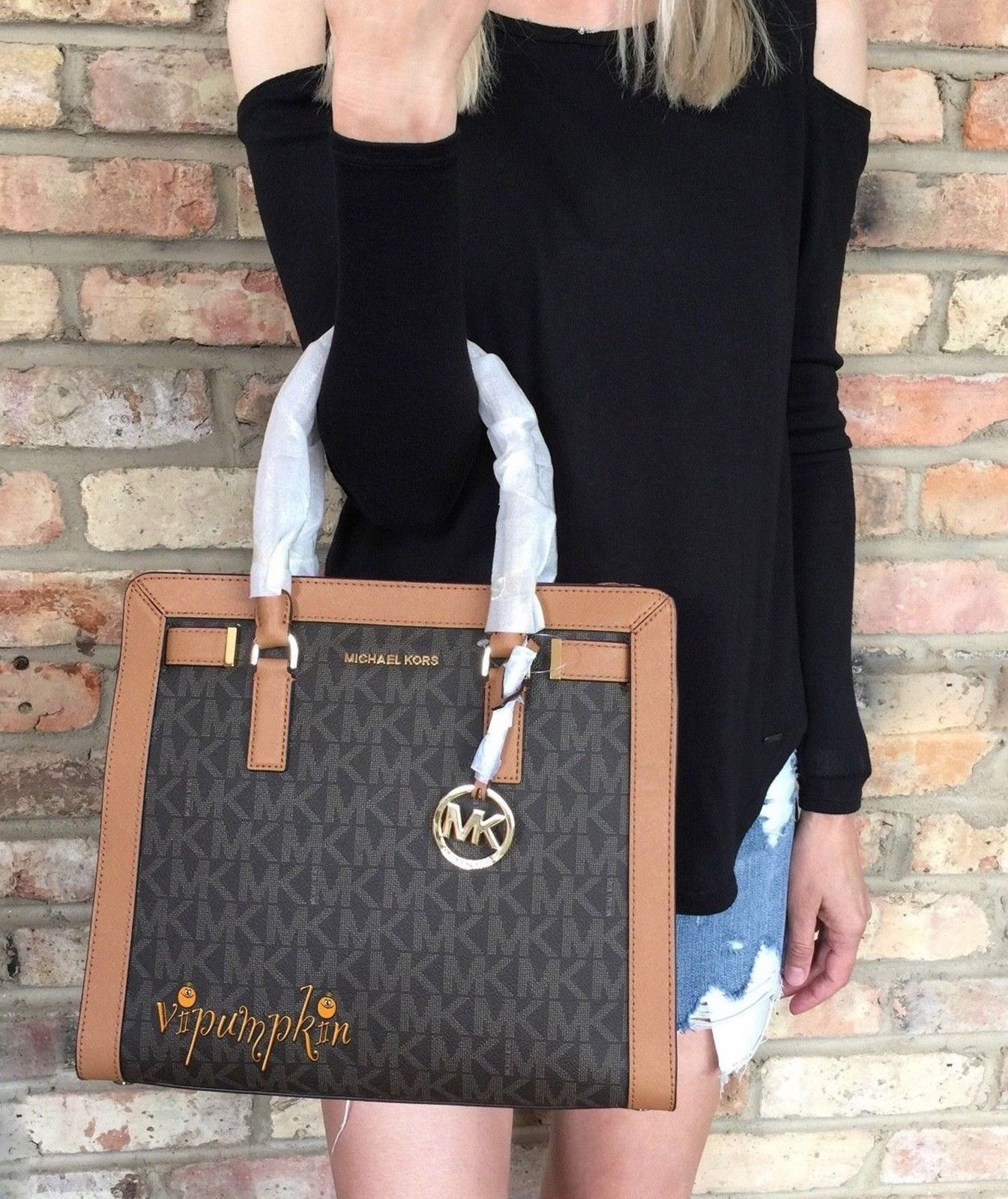 0a6bbaf0ecf501 MICHAEL KORS DILLON LARGE SATCHEL MK SIGNATURE PVC SAFFIANO LEATHER BAG  BROWN $196.29
