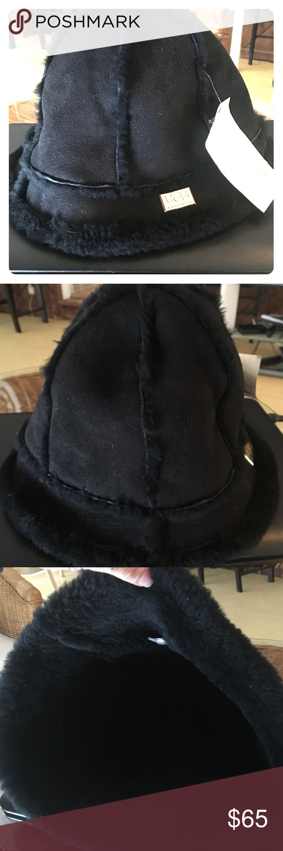 9662da2def64d Brand New with Tags Ugg Black Bucket Hat w Sherpa Selling a brand new with  tags