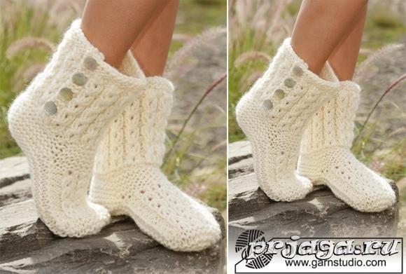 6055203d4cd2b Следки – сапожки спицами | Crochet and knit | Вязаные носки, Вязание ...