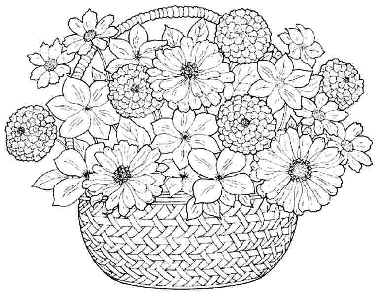 coloring pages bouquet flowers free printable for girls boys 45416 - Flower Printable Coloring Pages