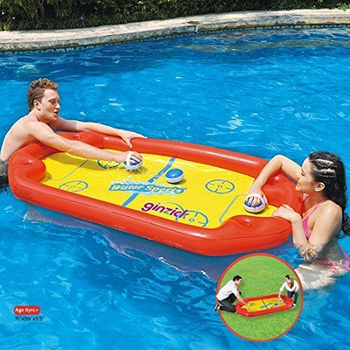 Ginzick Super Fun Floating Hockey Game Inflatable Pool Toy High Quality Durable Inflatable Pool Floating Hock Swimming Pool Toys Inflatable Pool Toys Pool Toys