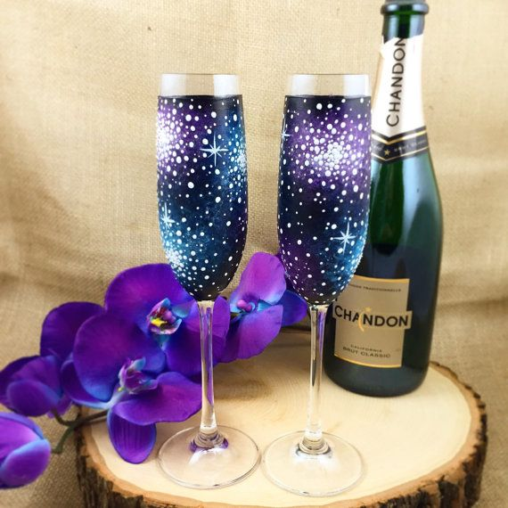 Hand Painted Galaxy Champagne Flutes Set of by ArianaVictoriaRose