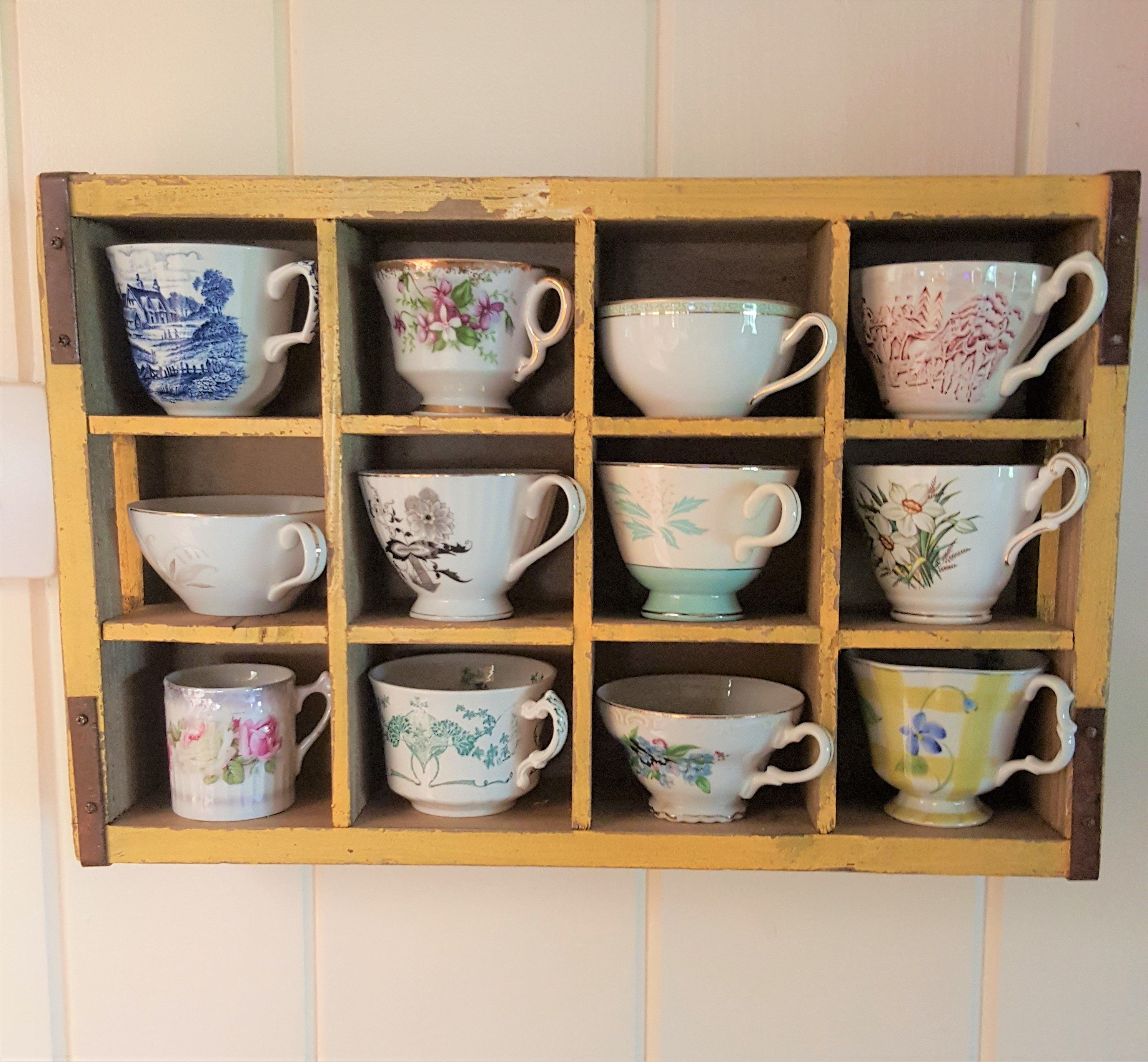 Vintage Tea Cups With Display By