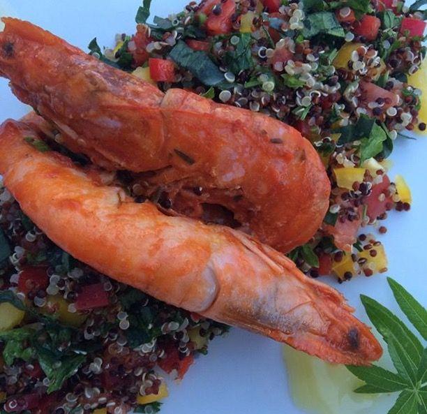 Shrimps with quinoa