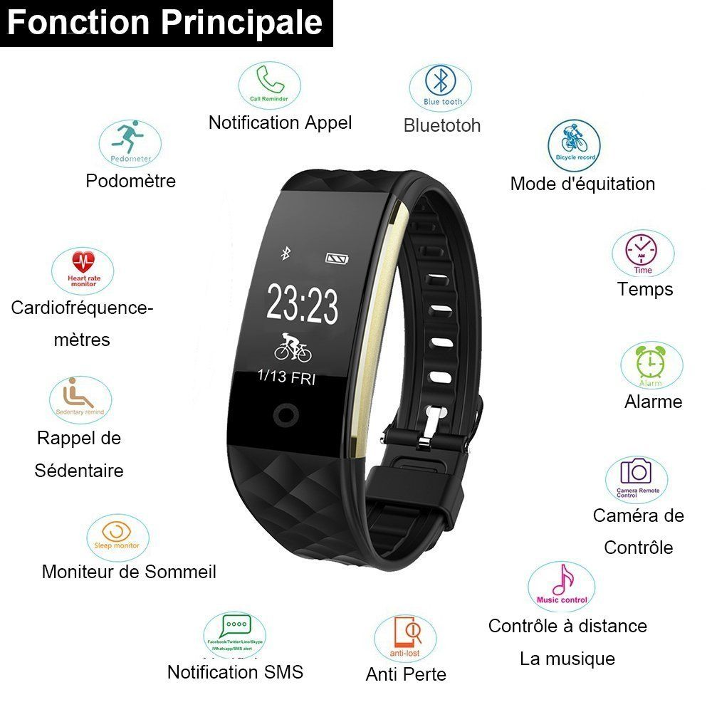 montre connect e willful bracelet connect smartwatch. Black Bedroom Furniture Sets. Home Design Ideas