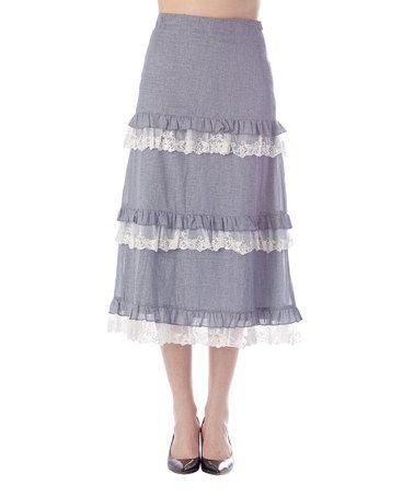 Look at this #zulilyfind! Blue & White Tiered Ruffle Skirt #zulilyfinds