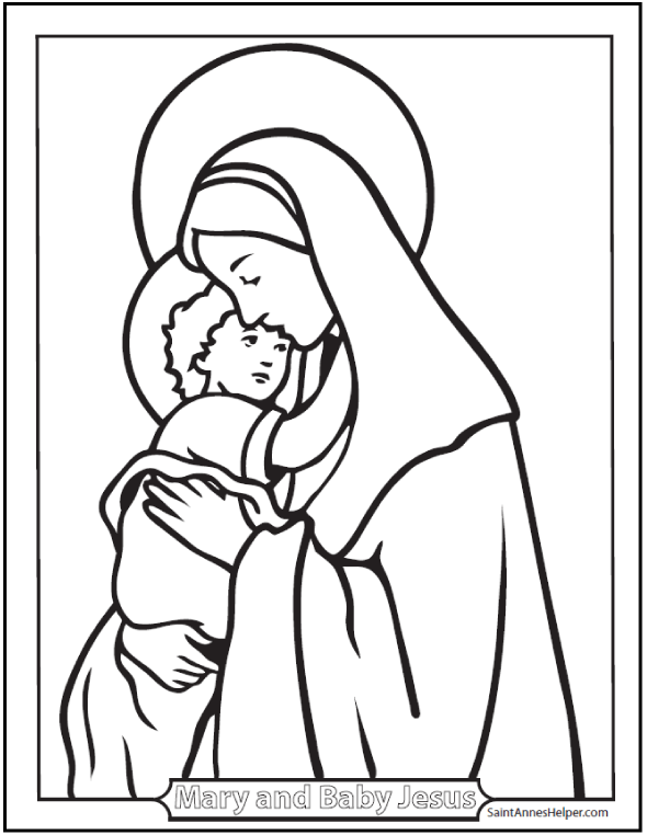 Free Christmas Coloring Pages Baby Jesus And Mother Mary At SaintAnnesHelper