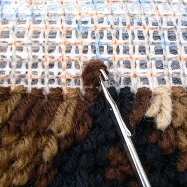 In Latch Hooking You Use A Small Hooked Tool To Pull Yarn Through The Holes