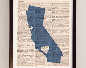 Los Angeles Dictionary Print - California Art - Print on Vintage Dictionary Paper - Choose Your Own Color - I Heart LA - Hollywood