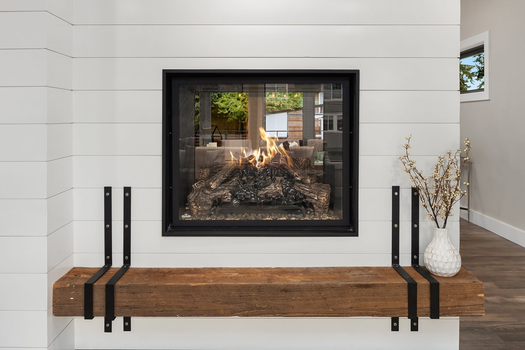 Square See Through Gas Fireplace Shiplap Walls Custom Wood