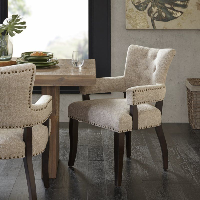 Idabel Tufted Upholstered Arm Chair In Morocco Wood Dining