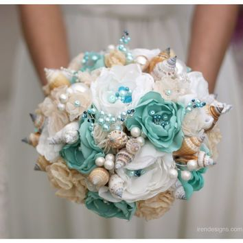 SALE Seashells Wedding Bouquet For Beach Turquoise And Beige