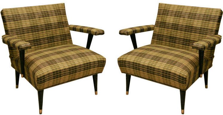 Green and Black Tartan Upholstered 1950's armchairs