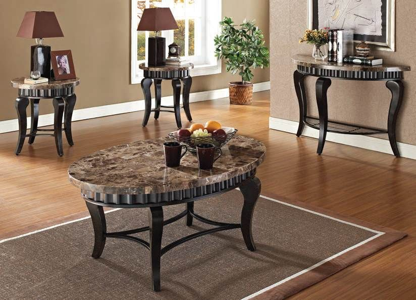 Best Galiana Brown Marble Top Coffee End Table Set 80068 Set 400 x 300