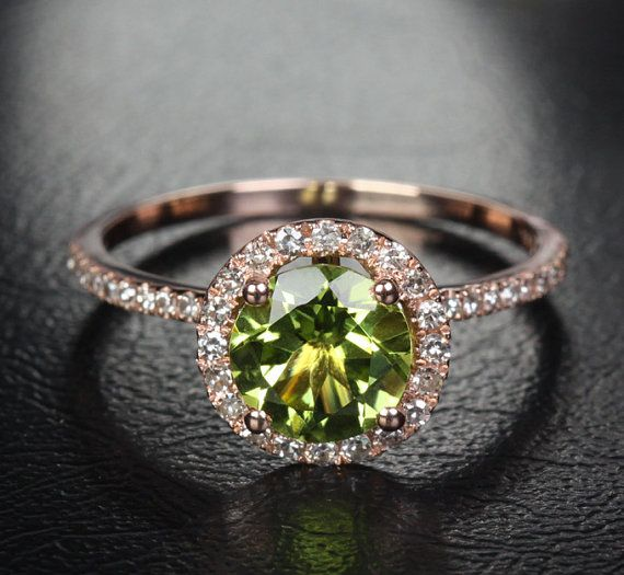 7mm VS Peridot 14k Rose Gold Pave Diamonds Engagement/Promise Halo Wedding Ring on Etsy, $329.00