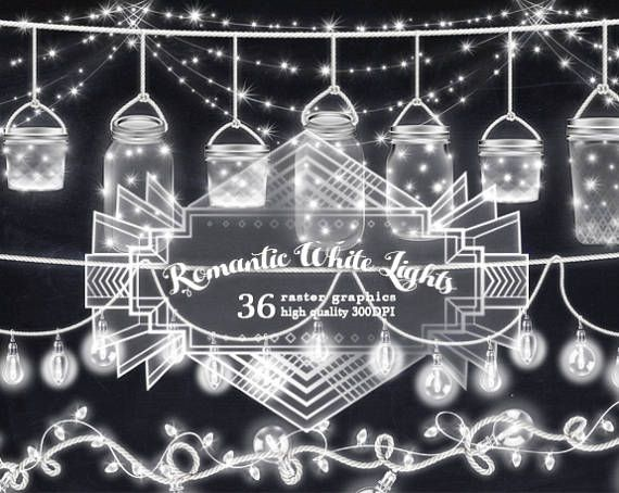 Romantic White String Lights Clipart Light Banners Mason Jars Vintage Bulb