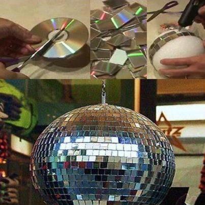Creando una bola de disco podemos aprovechar a reciclar cd - Bola de discoteca ...