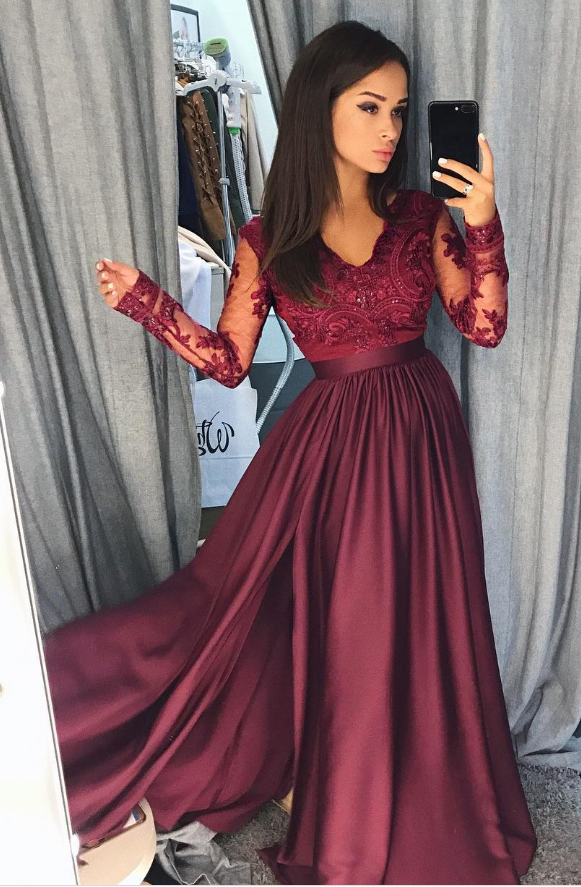 Wine Red Order Ball Gown Prom Dress A Line Formal Dress