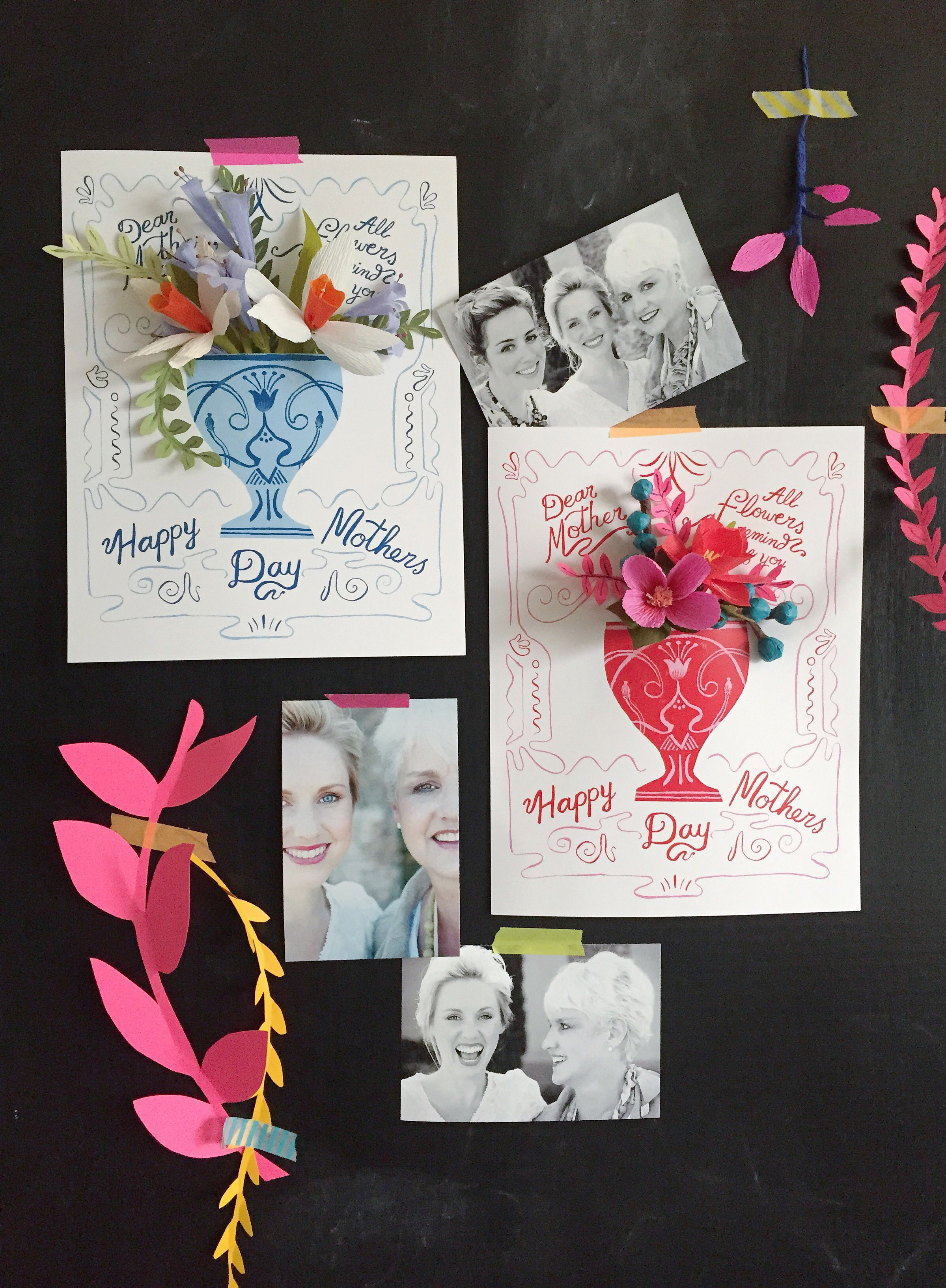 FREE printable mother's day background card for a paper flower bouquet