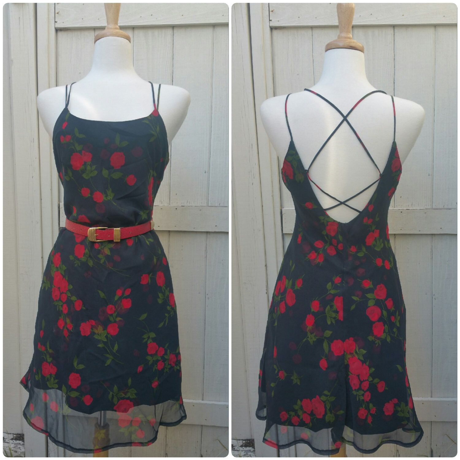 Black rose s floral vintage halter dress low back leather waist